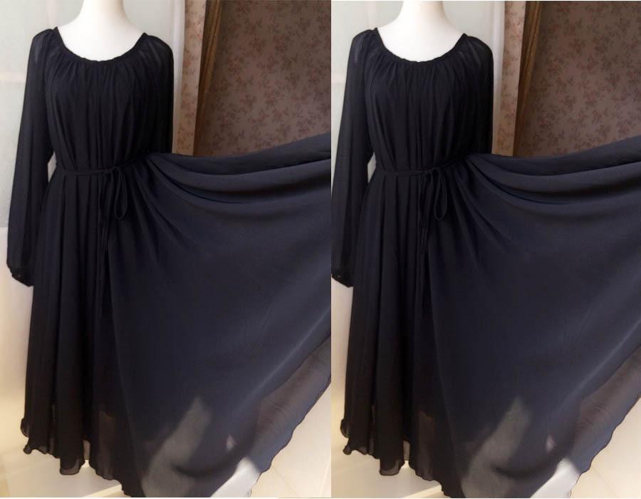 BLACK MAXI Chiffon Dress Long Sleeve Loose Oversized Maternity Dress Gowns NWT