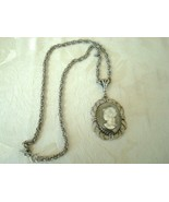 Vintage Whiting Davis Cameo Necklace Silver-tone ~ Hematite  - $17.00