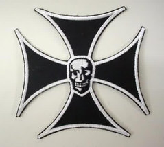vintage IRON CROSS with SKULL motorcycle jacket patch - $17.50