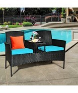 Patio Rattan Conversation Set Seat Sofa-Turquoise - Color: Turquoise - $320.62