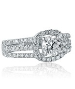 Round Cut Halo 1.73 Ct Diamond Engagement Ring 3-Row Split Shank 14k Whi... - $3,099.99