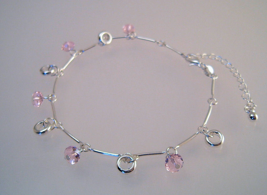 Ankle Bracelet Anklet or Large Bracelet Sterling Silver Pink Crystals