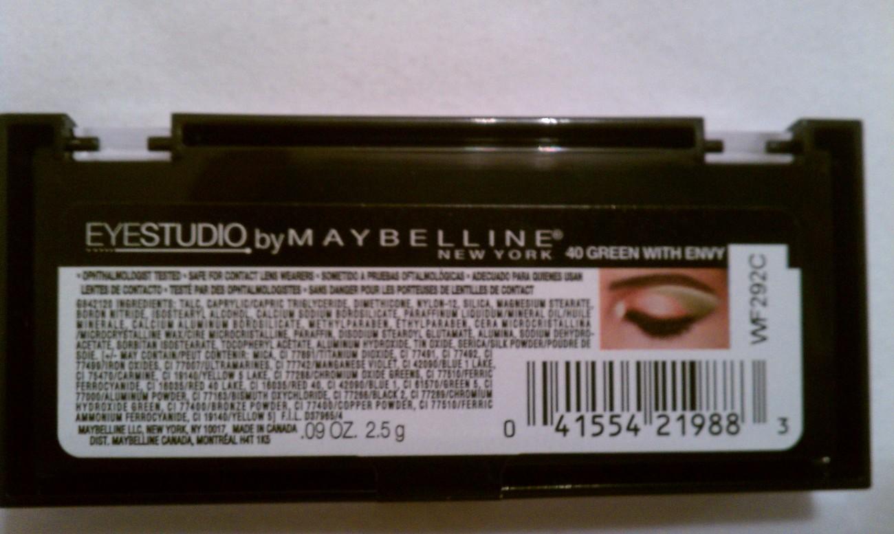 MAYBELLINE EyeStudio Eyeshadow Color Plush Quad, Green with Envy 40 N&S