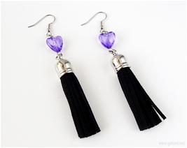 Black Tassel Earrings with Purple Hearts, Soft Gruge, Pastel Goth, Visual Kei - $13.00