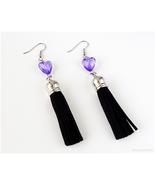 Black Tassel Earrings with Purple Hearts, Soft Gruge, Pastel Goth, Visua... - $13.00