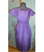 Vintage 50s 60s dress cocktail wiggle Lavender purple - $40.00