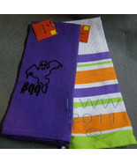 2 Halloween Purple and striped Ghost Boo Waffle Knit Towels 100% Cotton  - $5.99
