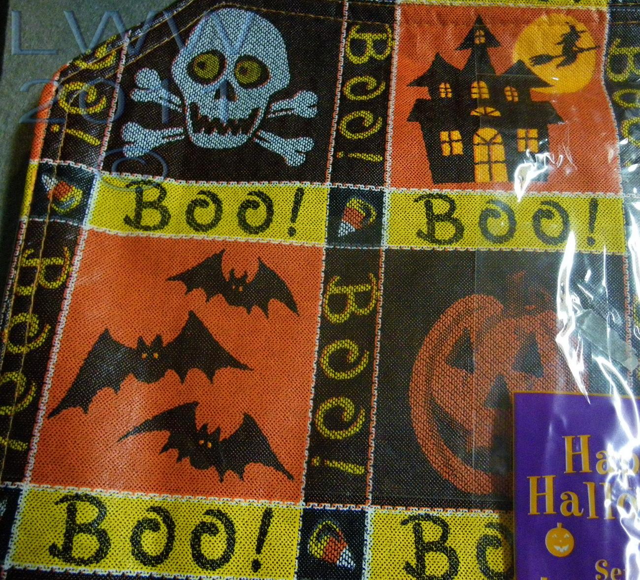 Set of 4 Halloween Placemats Skull Crossbones Bats Spider Ghost Jack-o-lantern