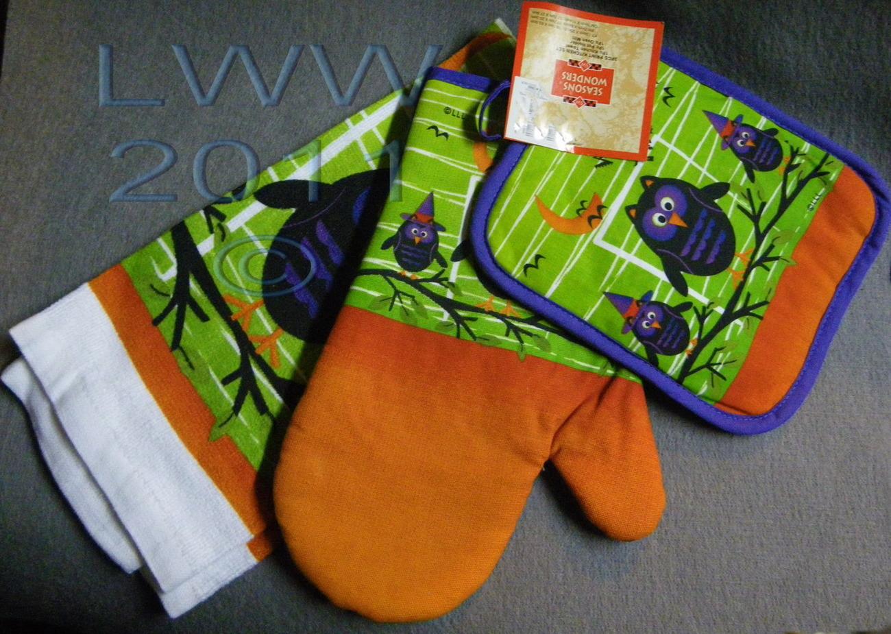 Oven Mitt Pot Holder Kitchen Towel Green Purple Orange Owl Witch Halloween Set