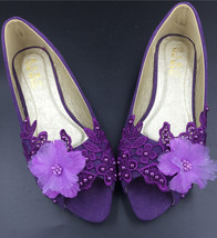 Dark Purple Open toe Lace Women Wedding Shoes,Bridal Shoes US Size 7,8,9,10,11 - $38.00