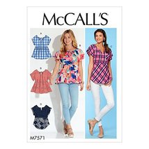 McCall Patterns M7571E50 Misses' Split-Neck Sleeve and Hem Options Tops - $2.93