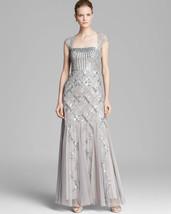 Adrianna Papell  Cap Sleeve Beaded Dress - Square Neck Sz 6 Platinum - $166.32