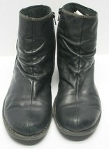 Clarks Nikki Black Leather Zip Ankle Boots Wmns 10M83537 Split Toe Wedg... - $22.76
