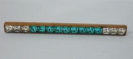 Vintage Art Deco Rhinestone Bar Brooch Pin Aqua Blue Clear Gilt Brass 1930's - $25.73