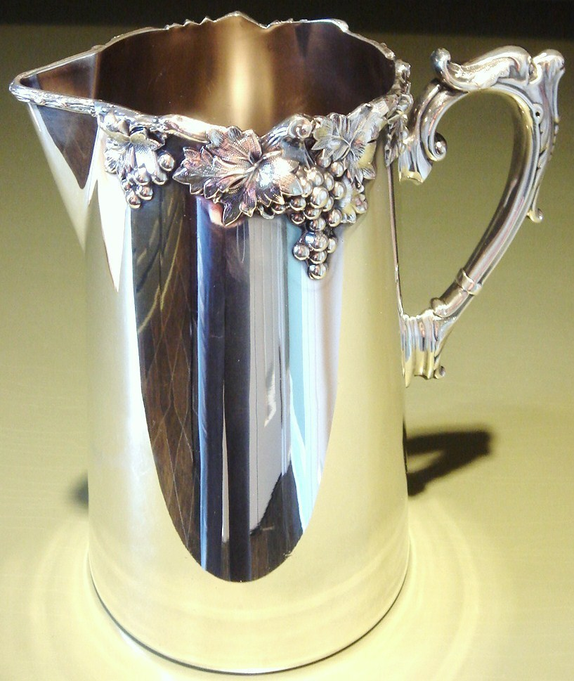 ca. 1912 Ellis-Barker Silver Plated Pitcher, Grapes