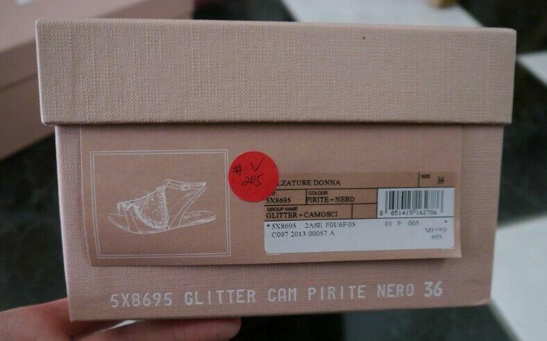 NIB 100% AUTH Miu Miu Glitter Spade Metallic Leather Sandals Sz 36 $695