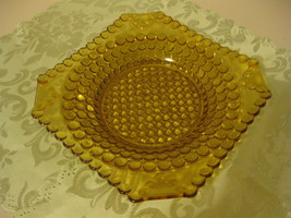 EAPG Adams & Co. Glass Banded Thousand 1000 Eye Amber Square Shallow Bowl  - $44.99