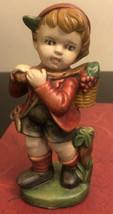 Vintage Ceramic Boy Hold Berty Basket Figurines - $9.90