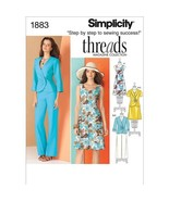 Simplicity Threads Magazine Collection Pattern 1883 Misses Dress, Jacket... - $4.90