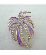 Lavender Purple Enamel Rhinestone Starburst Brooch Pin  - $8.00