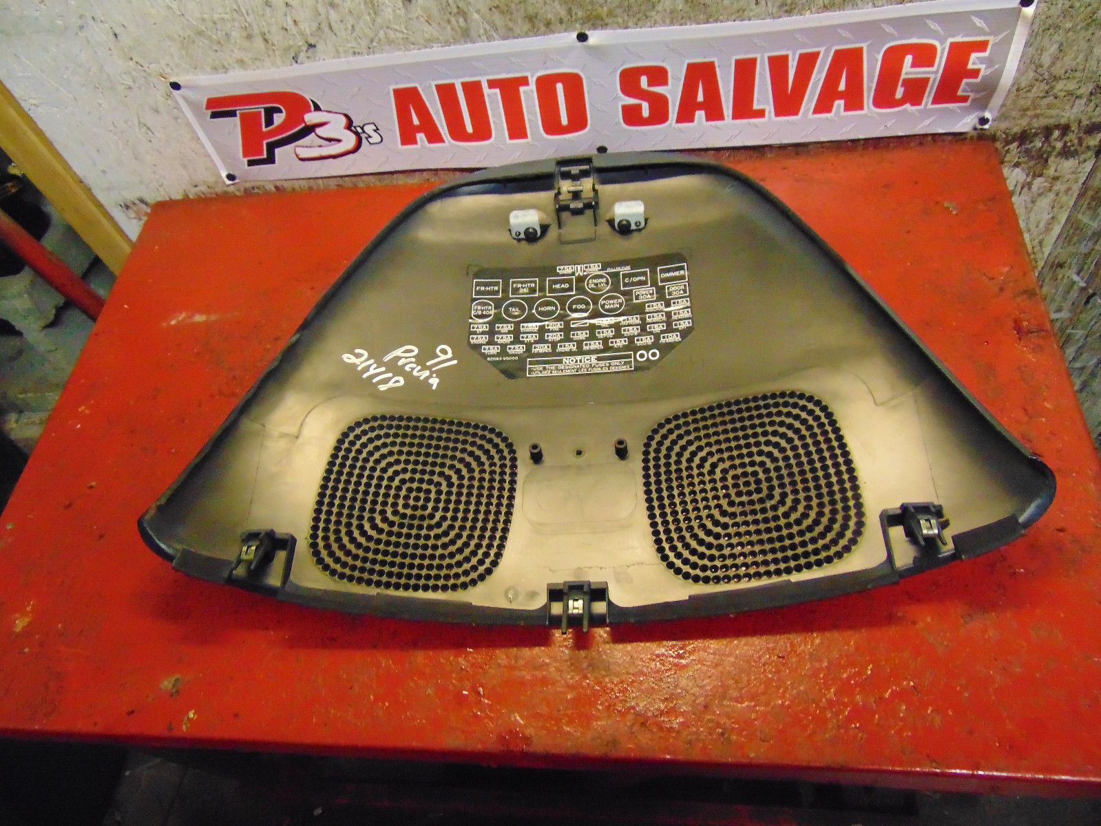 93 92 91 toyota previa dash board fuse box access panel & speaker cover lid