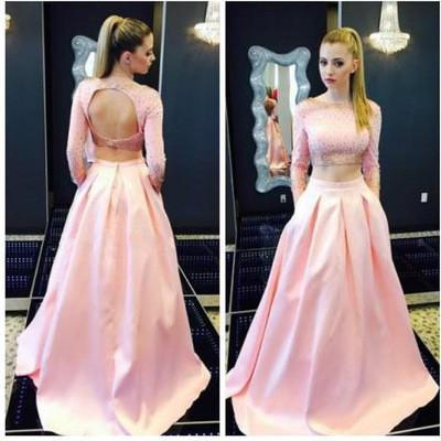 pink prom Dress,two pieces Prom Dress,charming prom dress,party dresses