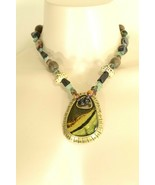 Chico's necklace pendant statement brown aqua silver gold beads stones - $17.81