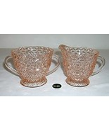 Jeannette Holiday Buttons & Bows Pink Creamer & Sugar - $16.95