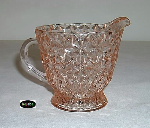 Jeannette Holiday Buttons & Bows Pink Creamer & Sugar