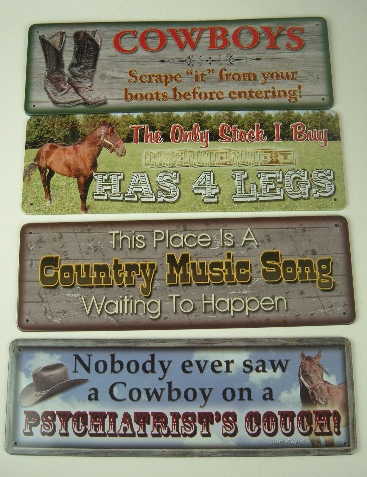 Funny Cowboy Metal Sign lot of 4 Country Western Horses Man Cave Humor
