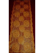 Orange Lace Pumpkin Jack O Lantern Halloween Table Runner Pumpkin Patch NEW - $12.00