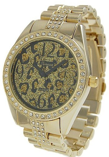 Primary image for Geneva Platinum Women's Rhinestone Cheetah Link Watch - Goldtone
