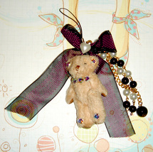 Teddy Bear Cellphone Charms - BLACK BOW - $5.00
