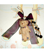 Teddy Bear Cellphone Charms - BLACK BOW - $5.00