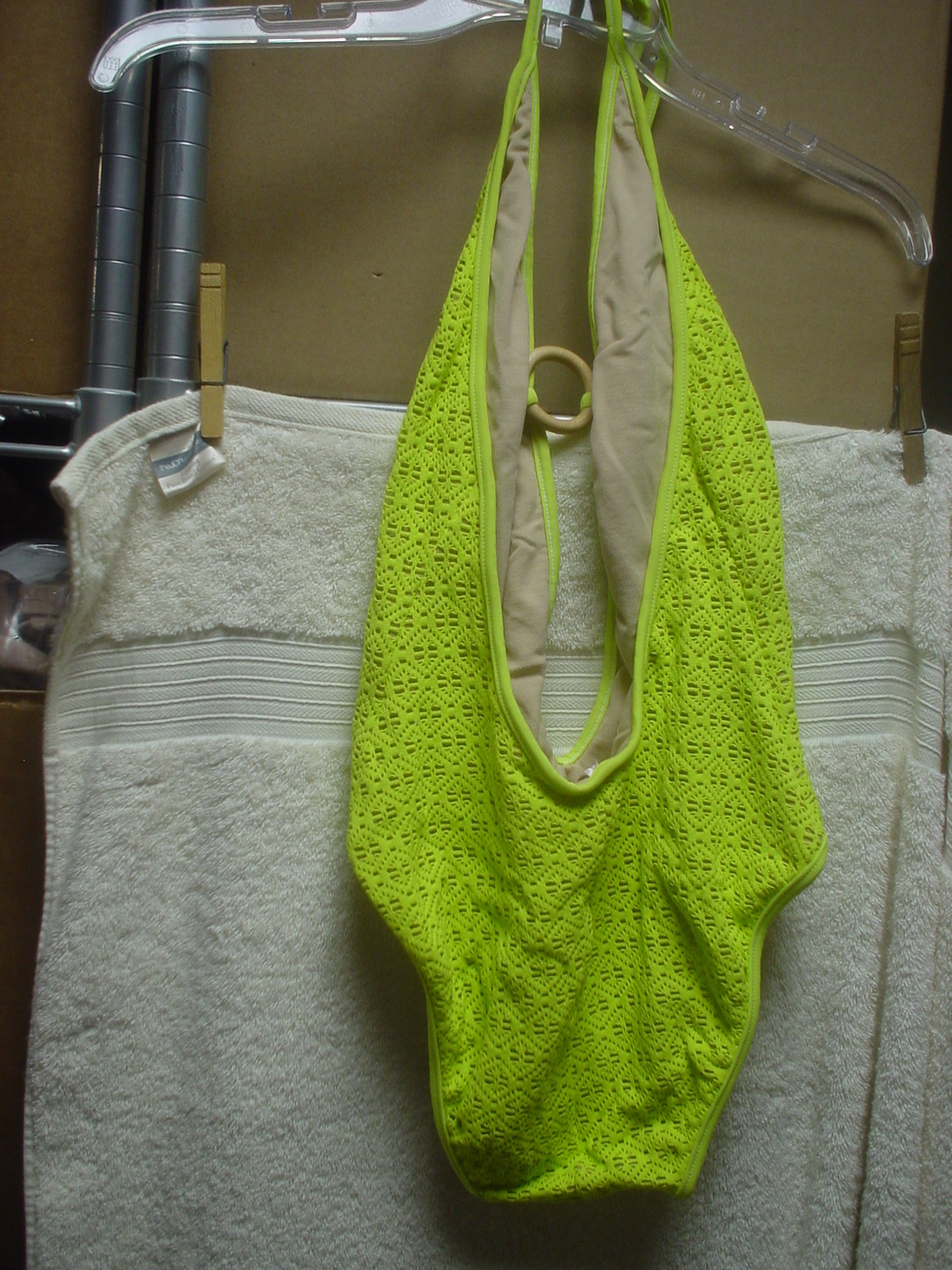 Victorias Secret One Piece Plunge Front Lime XSmall NWOT