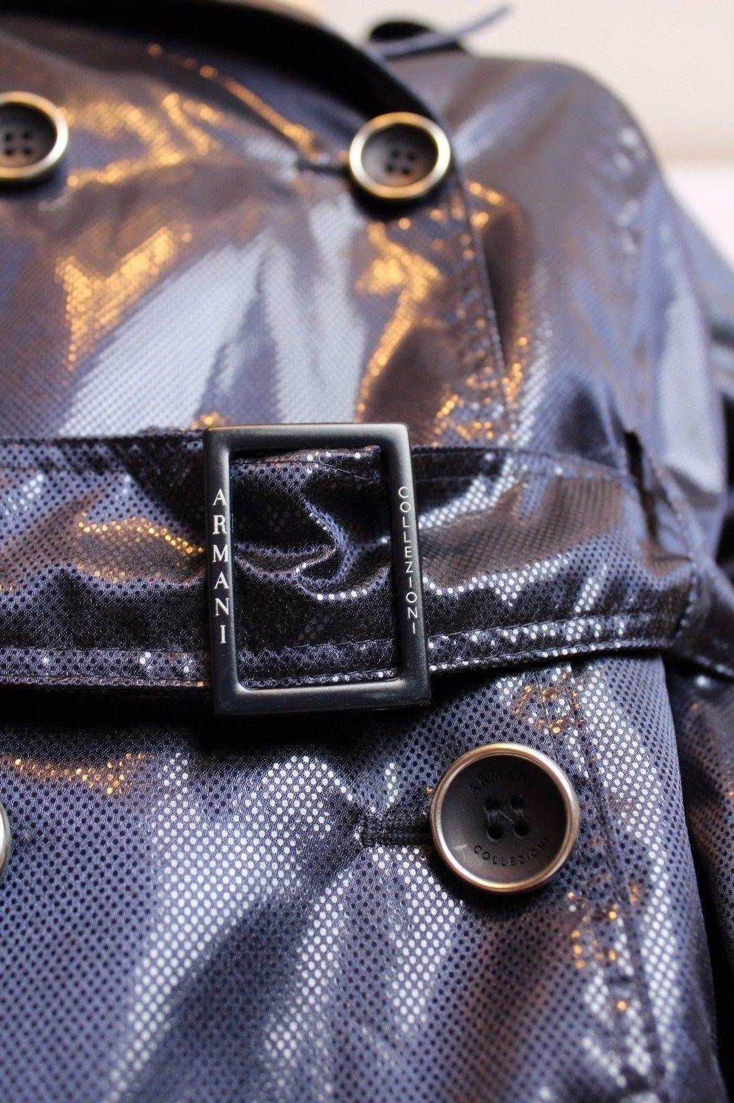 Armani Collezioni Italy Navy Blue Shiny Dots Bubble Hem TRench Coat Jacket 6