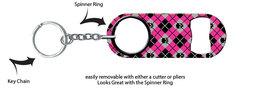 Mini Bottle Opener/Keychain: Argyle + Choose Color + FREE Spinner Ring +... - $11.99
