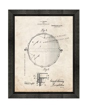 Snare Drum Patent Print Old Look with Beveled Wood Frame - $24.95+