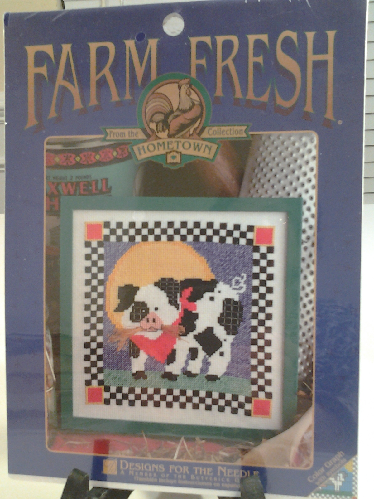 """Designs for the Needle Farm Fresh Piglet Stitch Kit Hometown Collection 7"""" x 7"""""""