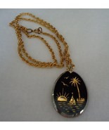 Black Glass Gold Paint Intaglio Tropical Scene Pendant - $6.50