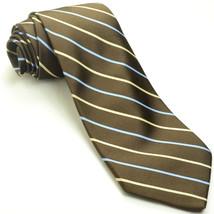 NEW BROOKS BROTHERS 59L Espresso Brown Cream Slate Striped Silk Mens Nec... - $74.25