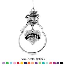 Inspired Silver Little Sis Pave Heart Snowman Holiday Ornament- Select Your Bann - $14.69