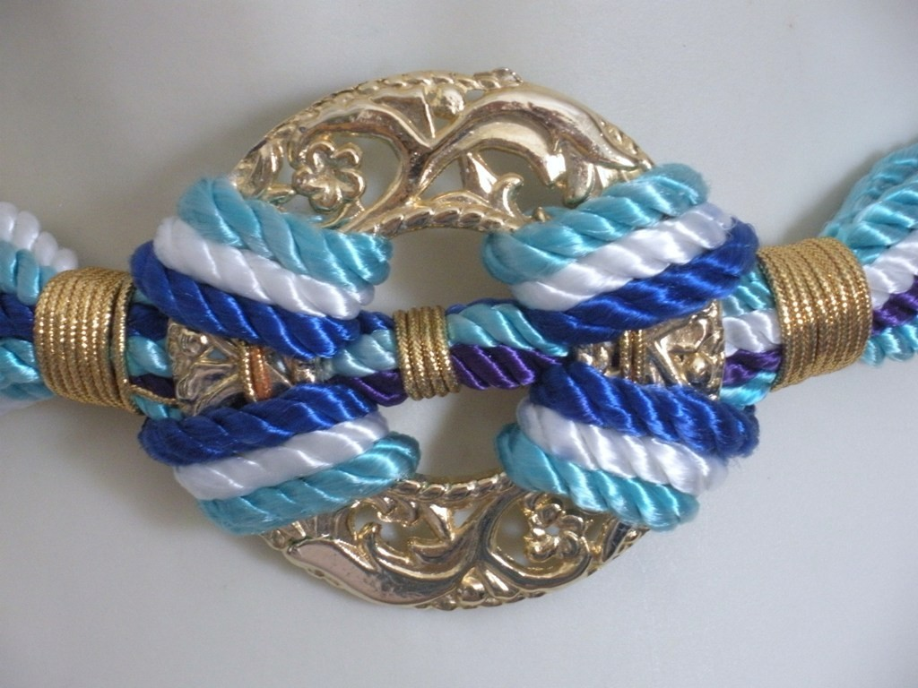 Vintage Royal Blue Aqua Purple  White and Gold Cinch Cord Be