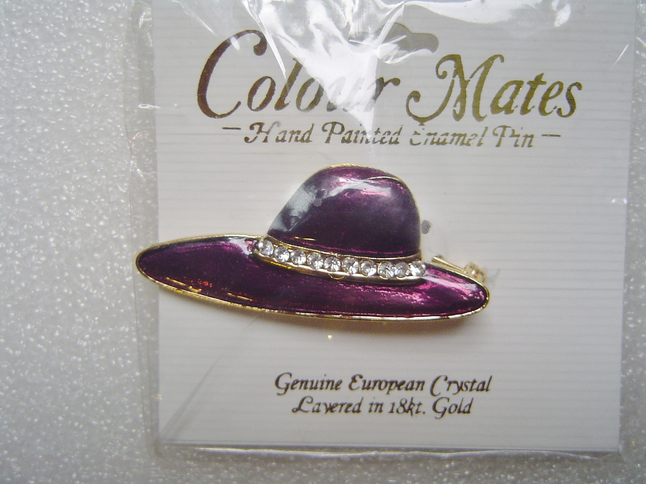 Colour Mates Purple Hat Enamel Crystal Brooch Pin 18k Gold Layered