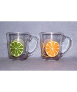 Libbey Orange and Lime Slices 2 Glass Mugs Cups Flare - $6.99