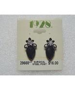 1928 Black Faceted Crystal Teardrop Earrings  - $6.00
