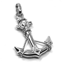 """18K WHITE GOLD NAUTICAL BIG ANCHOR ROUNDED PENDANT, LENGHT 3 CM, 1.2"""" - $330.50"""