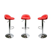 Set Of 2 Red Leather Bar Stools Swivel Dinning Counter Adjustable Height... - £224.89 GBP