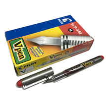 Pilot Vpen Medium Point Disposable Fountain Pen (12pcs), Red Ink, SVP-4M - $35.99
