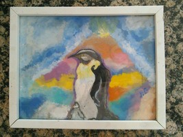 Sweet Penguin Painting Momma and Baby Framed Art Zoo Wildlife Home Wall ... - $33.66